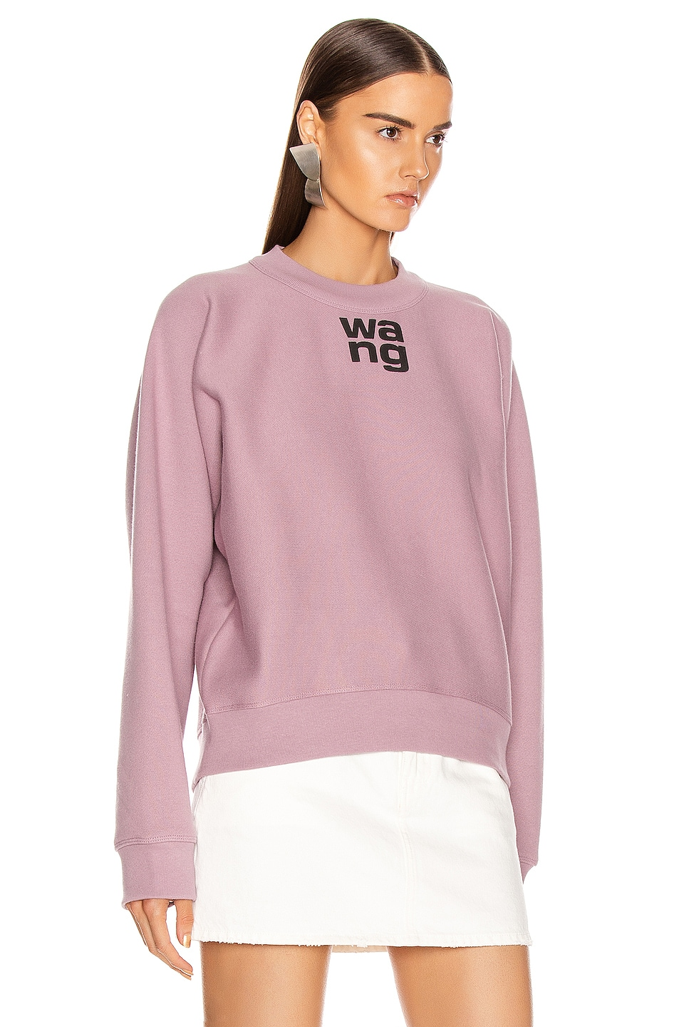 Image 2 of T by Alexander Wang Logo Print Crewneck in Dusk