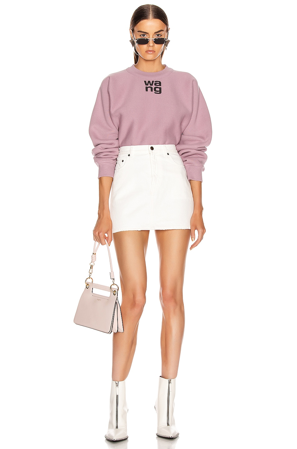 Image 4 of T by Alexander Wang Logo Print Crewneck in Dusk