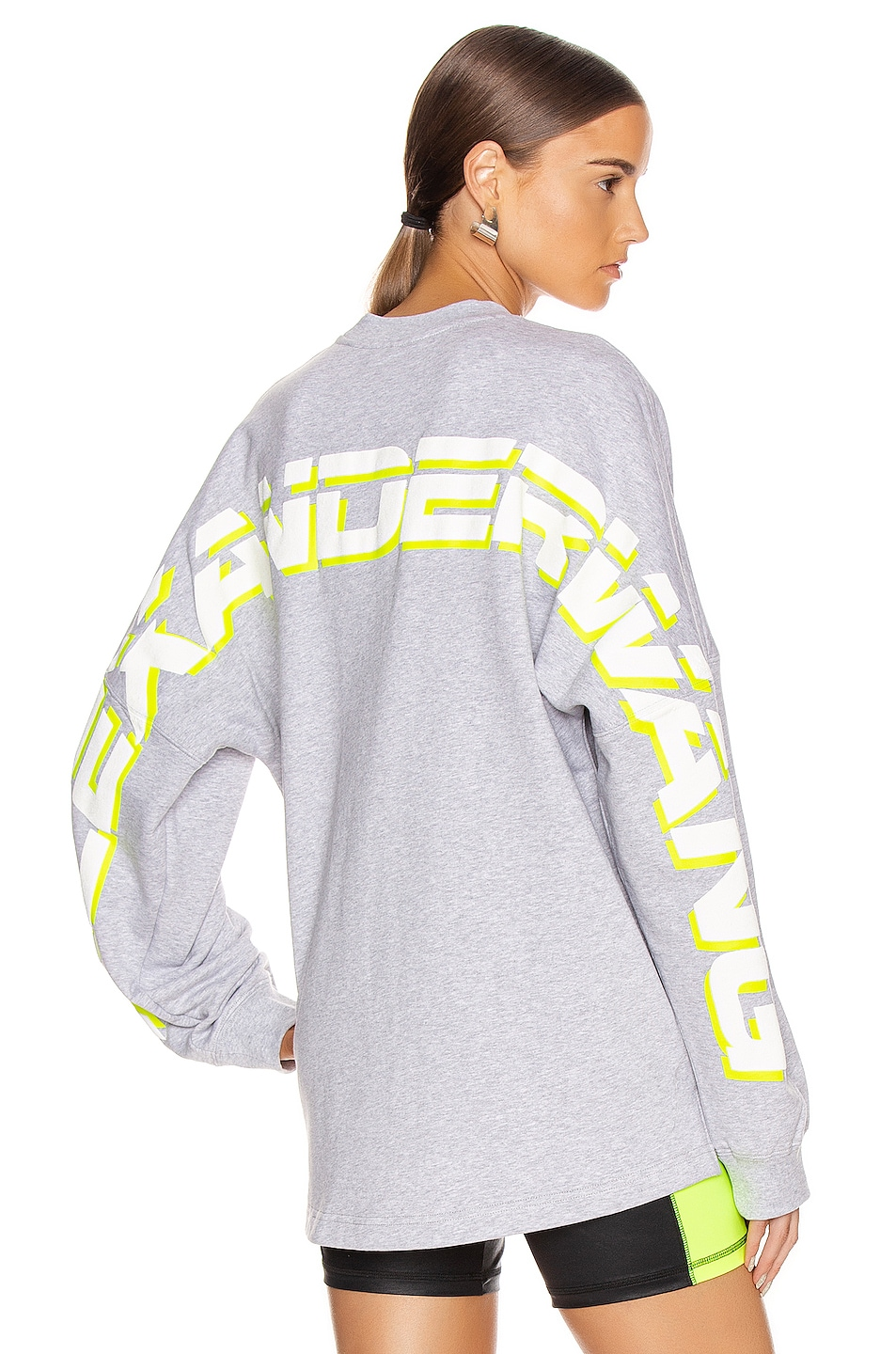 Image 1 of T by Alexander Wang Long Sleeve Logo Sweater in Heather Grey