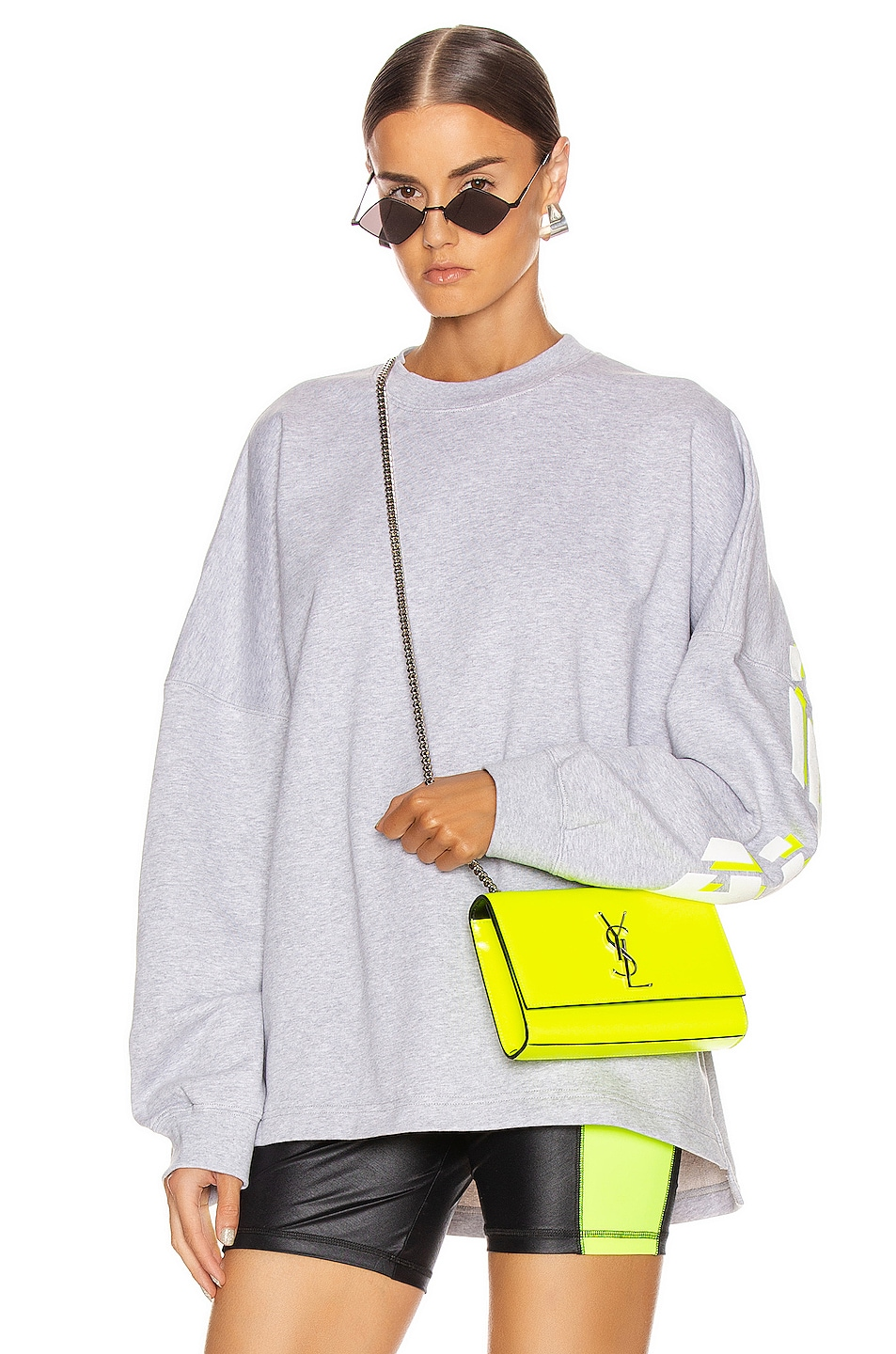 Image 2 of T by Alexander Wang Long Sleeve Logo Sweater in Heather Grey