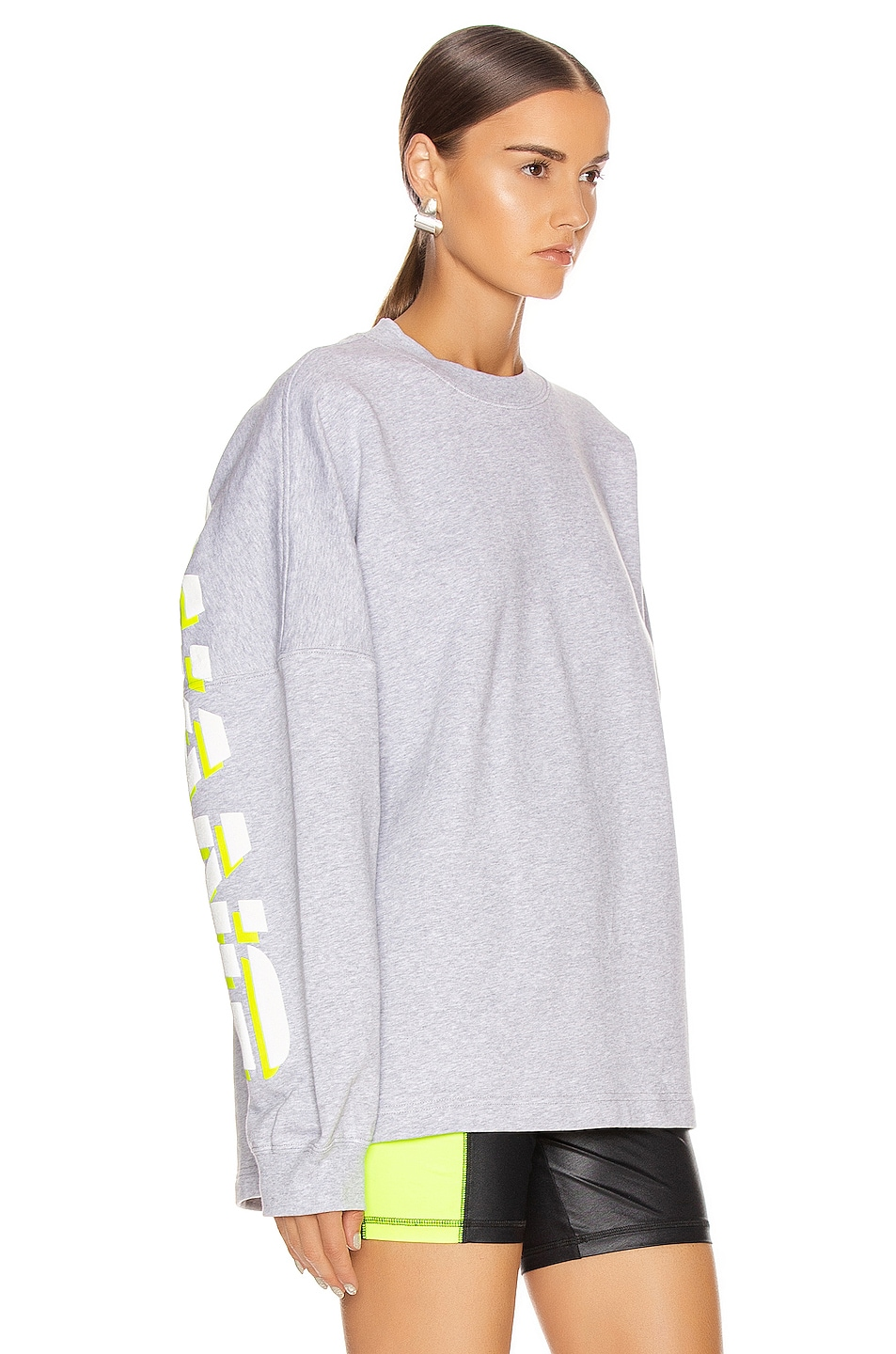 Image 3 of T by Alexander Wang Long Sleeve Logo Sweater in Heather Grey