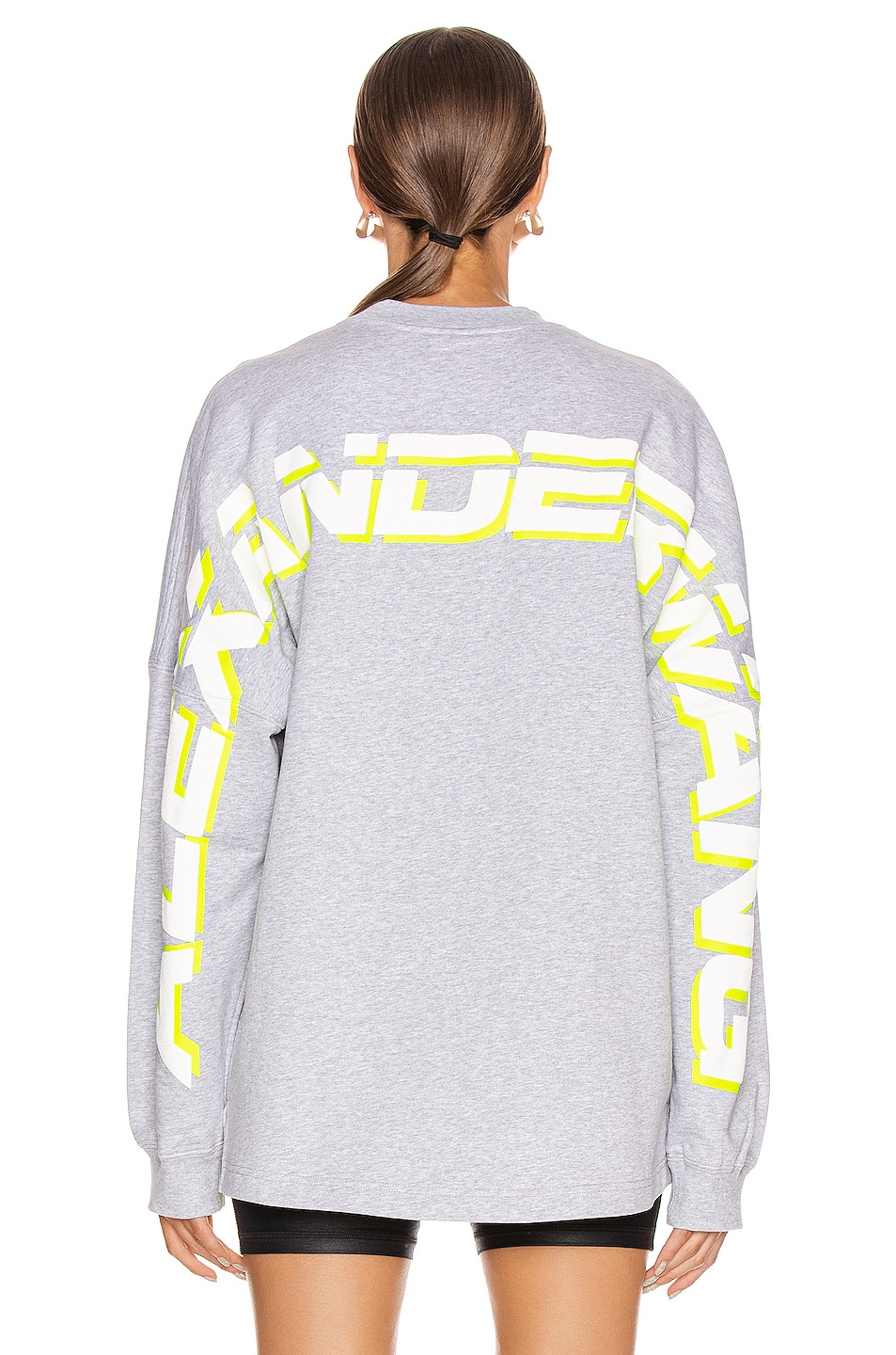 Image 4 of T by Alexander Wang Long Sleeve Logo Sweater in Heather Grey