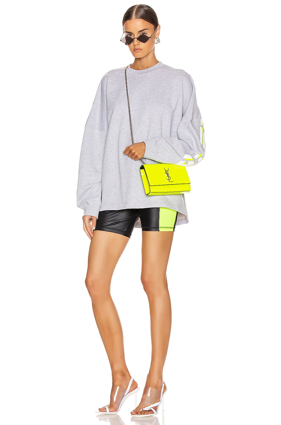 Image 5 of T by Alexander Wang Long Sleeve Logo Sweater in Heather Grey