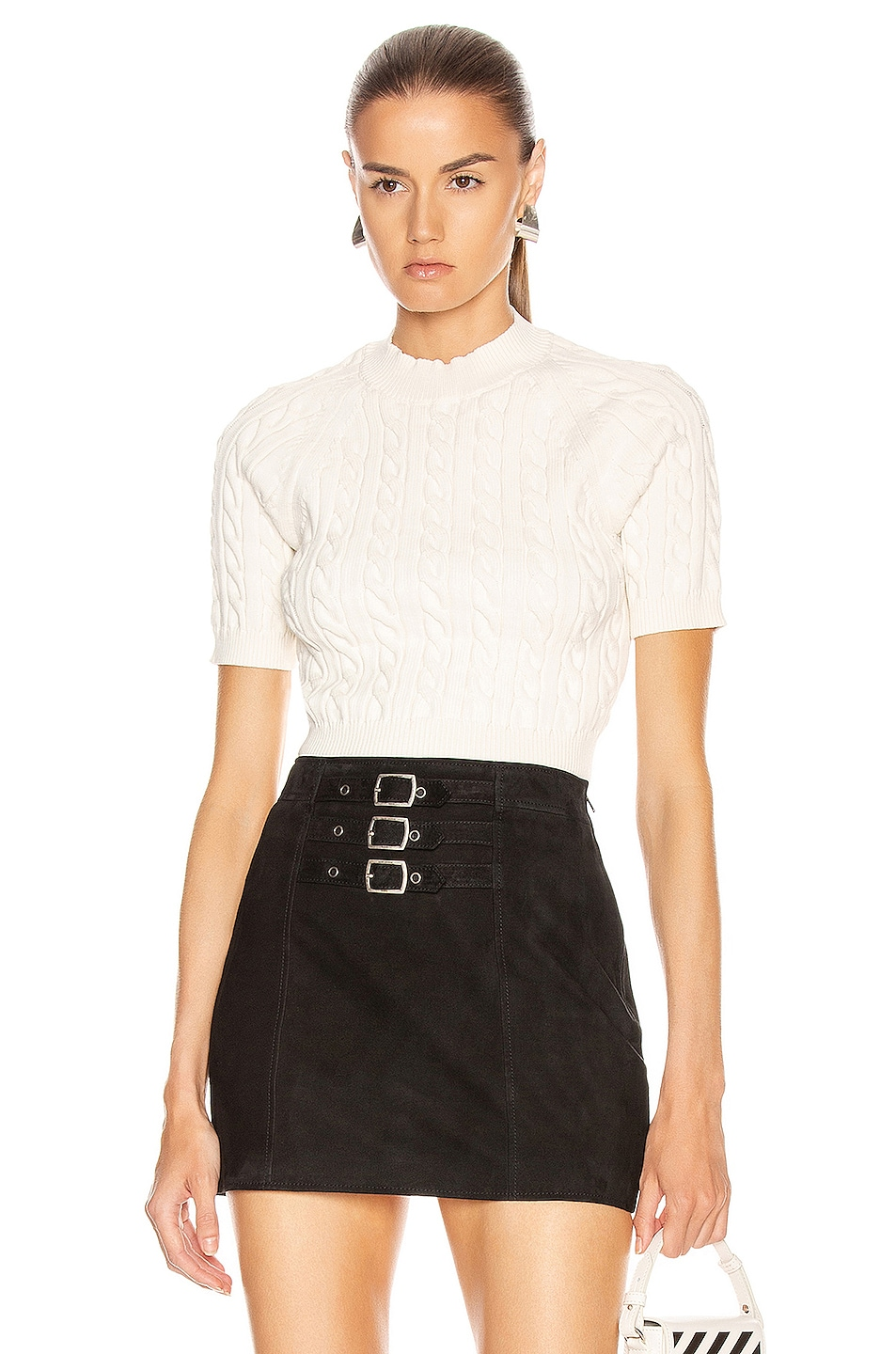 Image 1 of T by Alexander Wang Shrunken Cable Short Sleeve Sweater in Cream