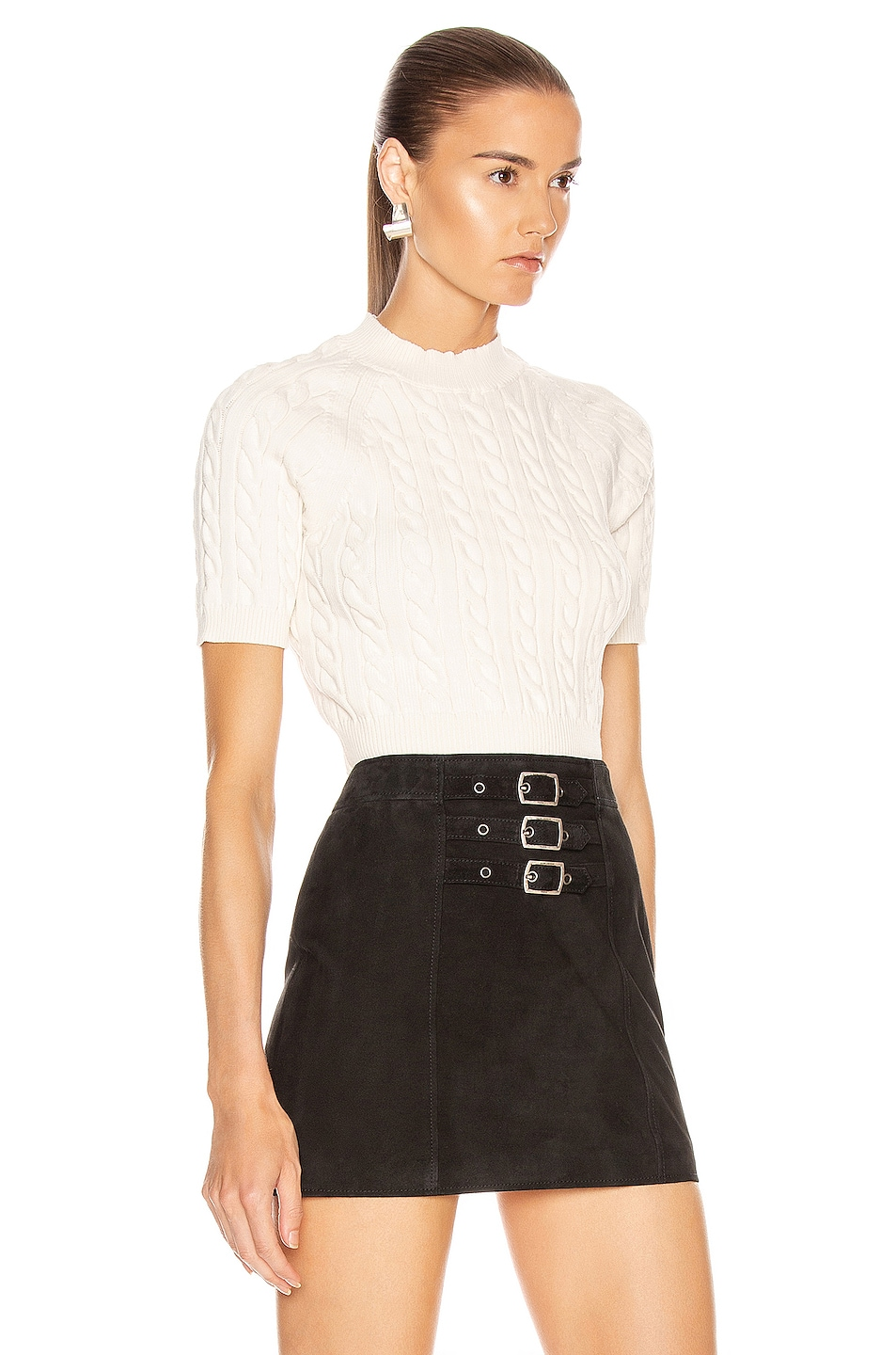 Image 2 of T by Alexander Wang Shrunken Cable Short Sleeve Sweater in Cream