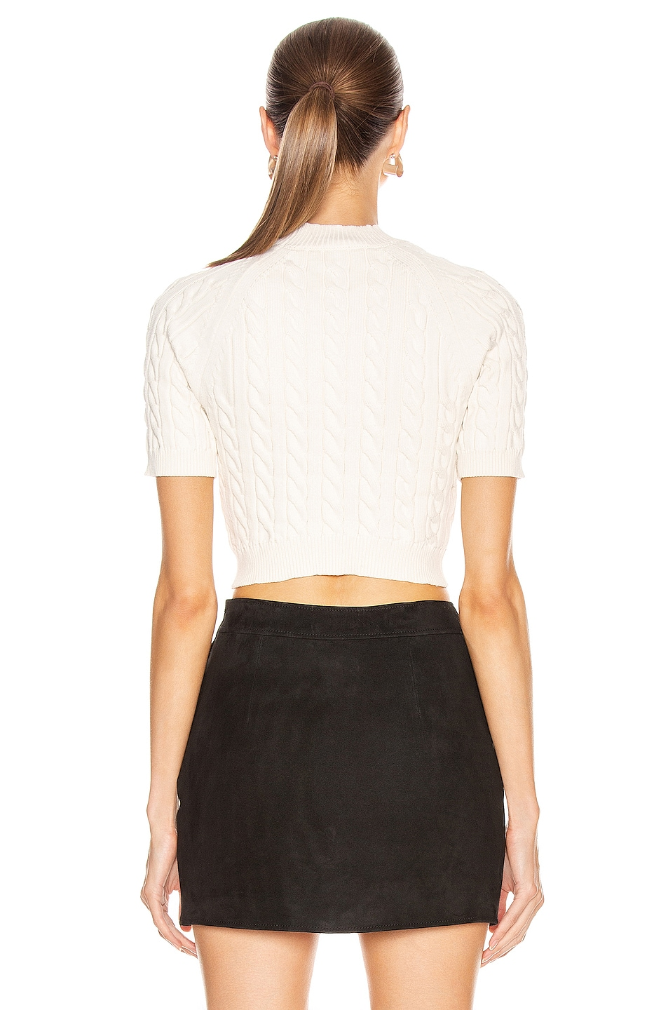 Image 3 of T by Alexander Wang Shrunken Cable Short Sleeve Sweater in Cream