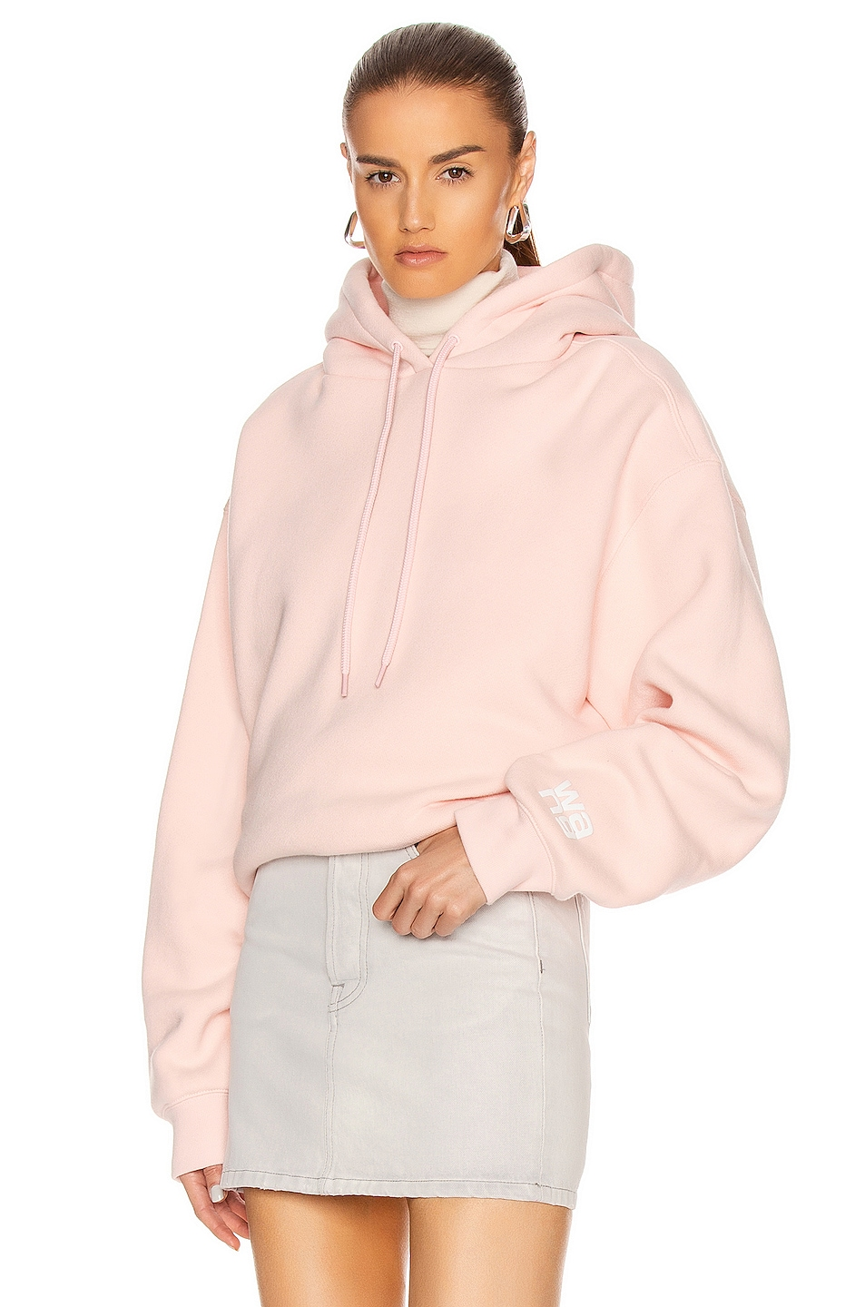 Image 1 of T by Alexander Wang Puff Paint Bubble Hoodie in Light Melon