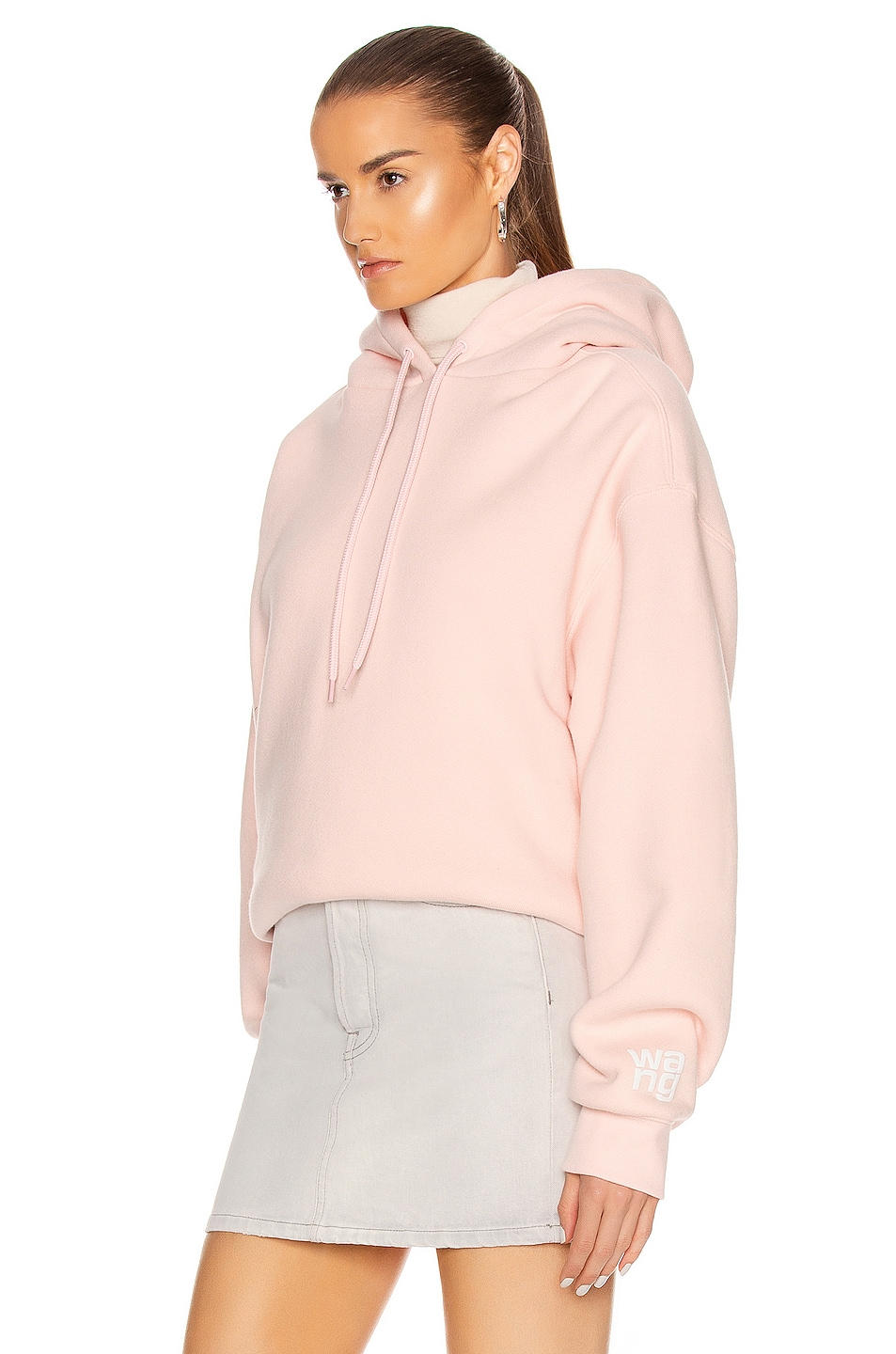 Image 3 of T by Alexander Wang Puff Paint Bubble Hoodie in Light Melon