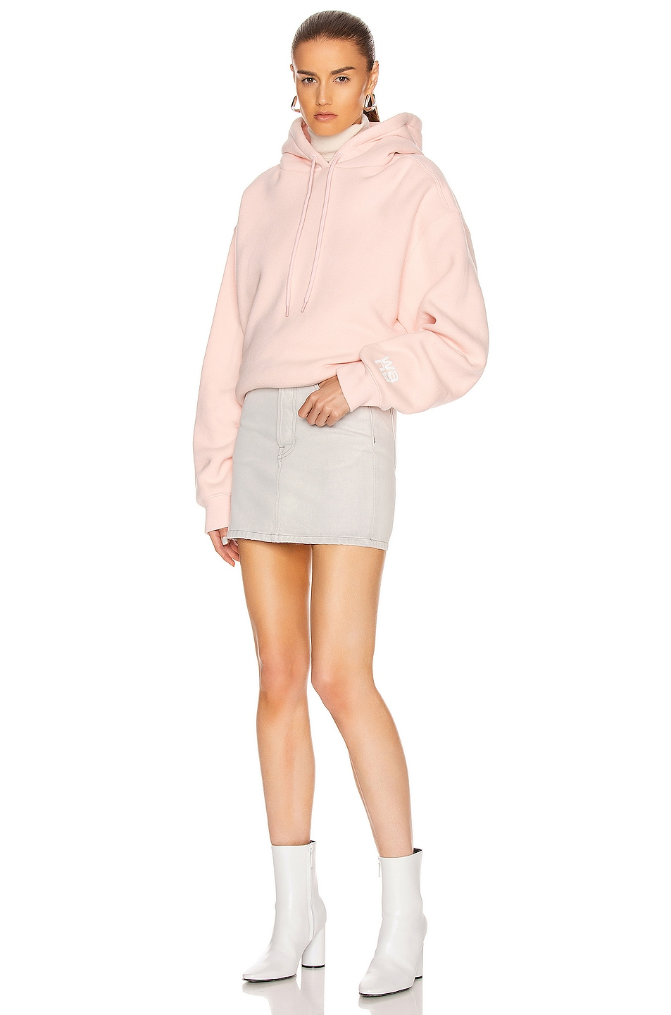 Image 5 of T by Alexander Wang Puff Paint Bubble Hoodie in Light Melon