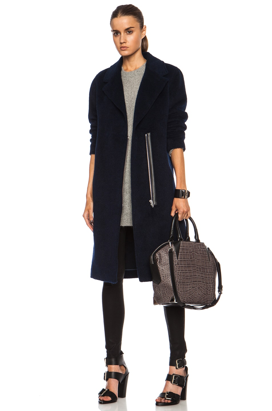 Image 1 of T by Alexander Wang Long Car Wool-Blend Coat in Ink