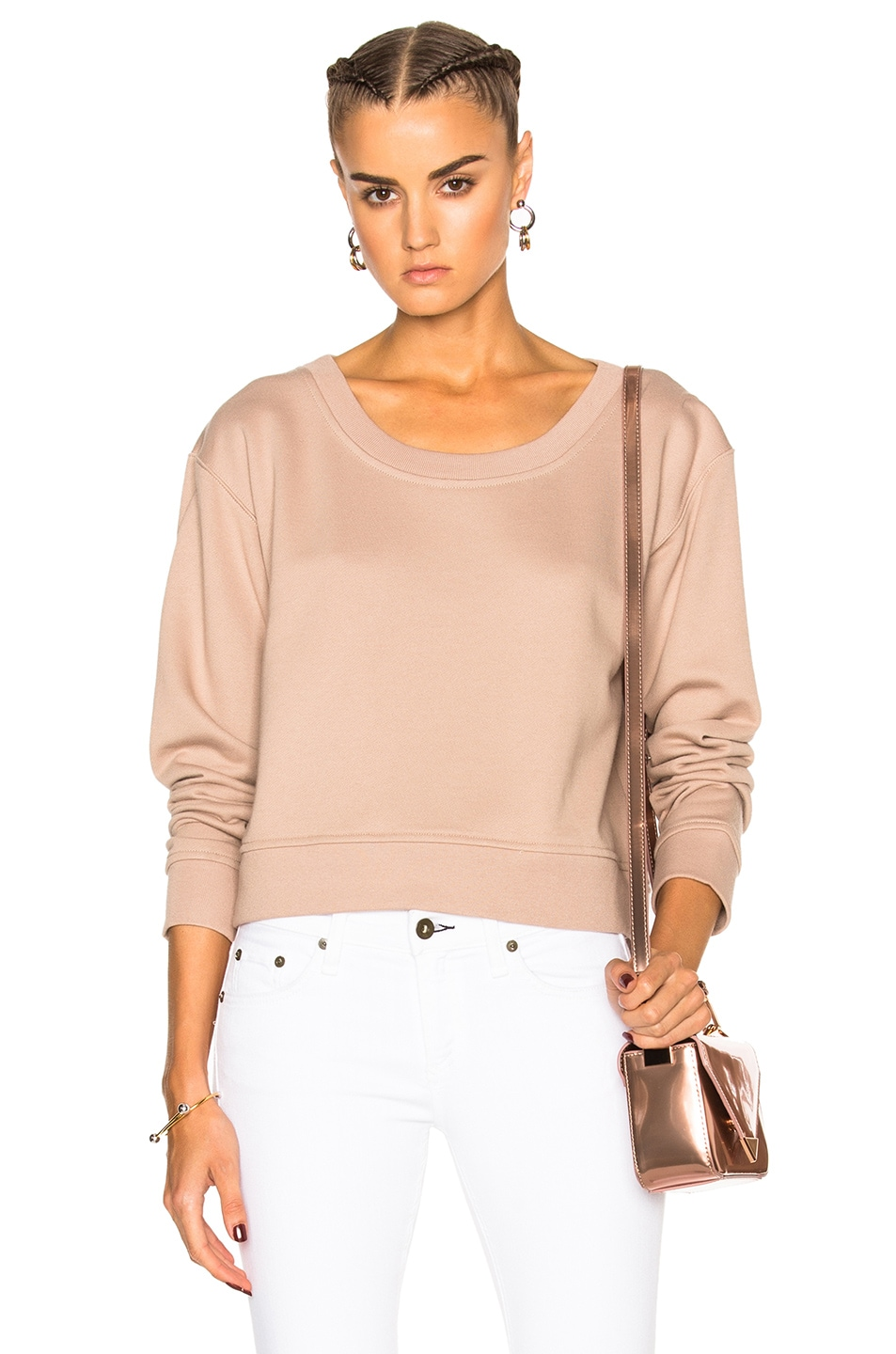 Image 1 of T by Alexander Wang Cropped Sweatshirt in Sandstone