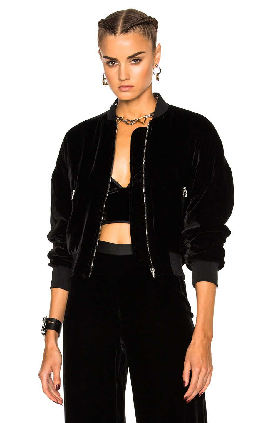 Image 1 of T by Alexander Wang Slightly Batted Bomber Jacket in Black