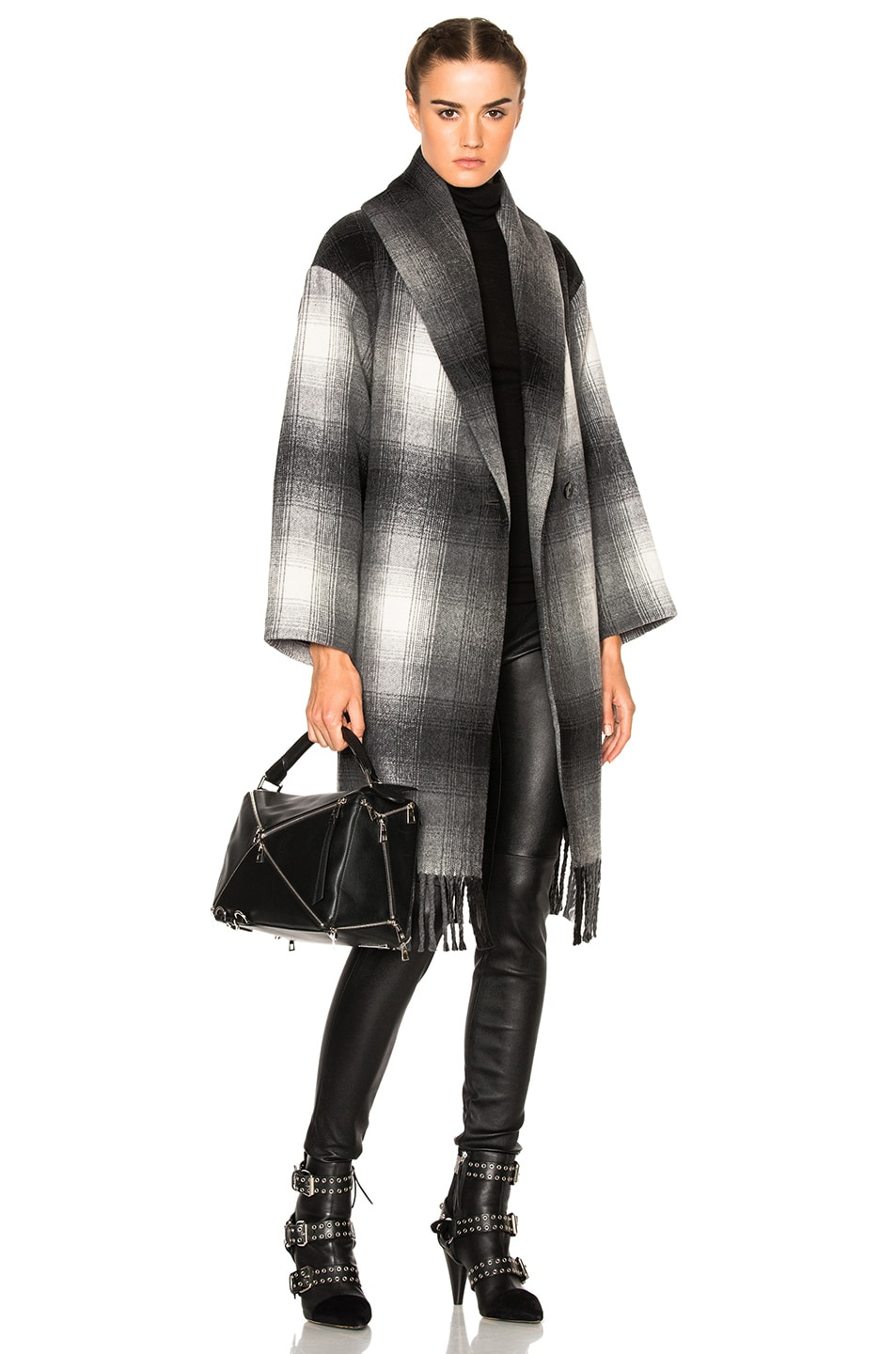 Image 1 of T by Alexander Wang Oversized Shawl Coat in Black & White