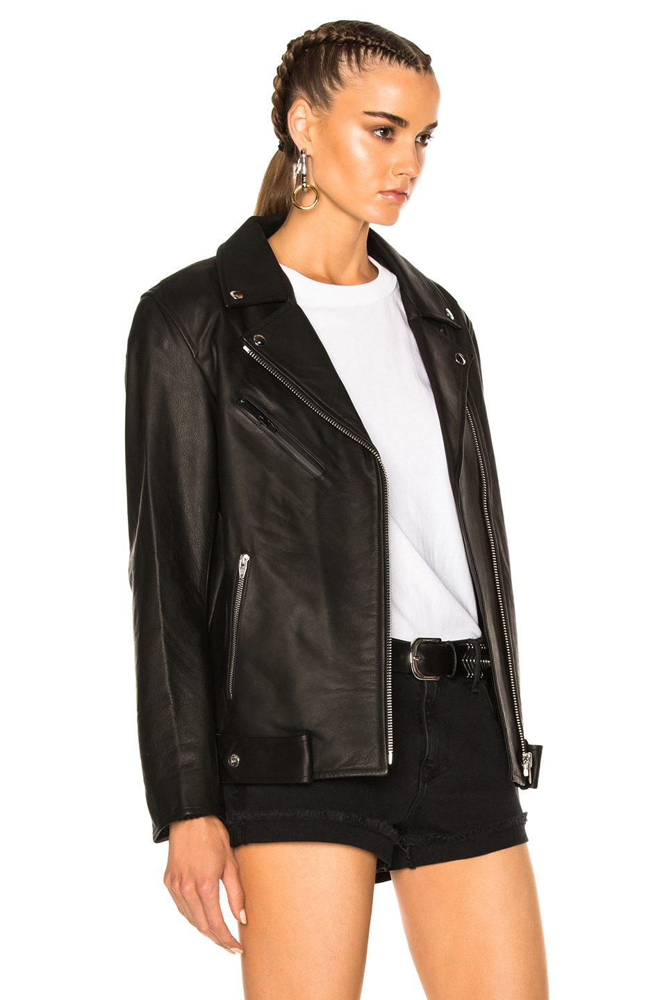 Image 4 of T by Alexander Wang Oversized Leather Moto Jacket in Black