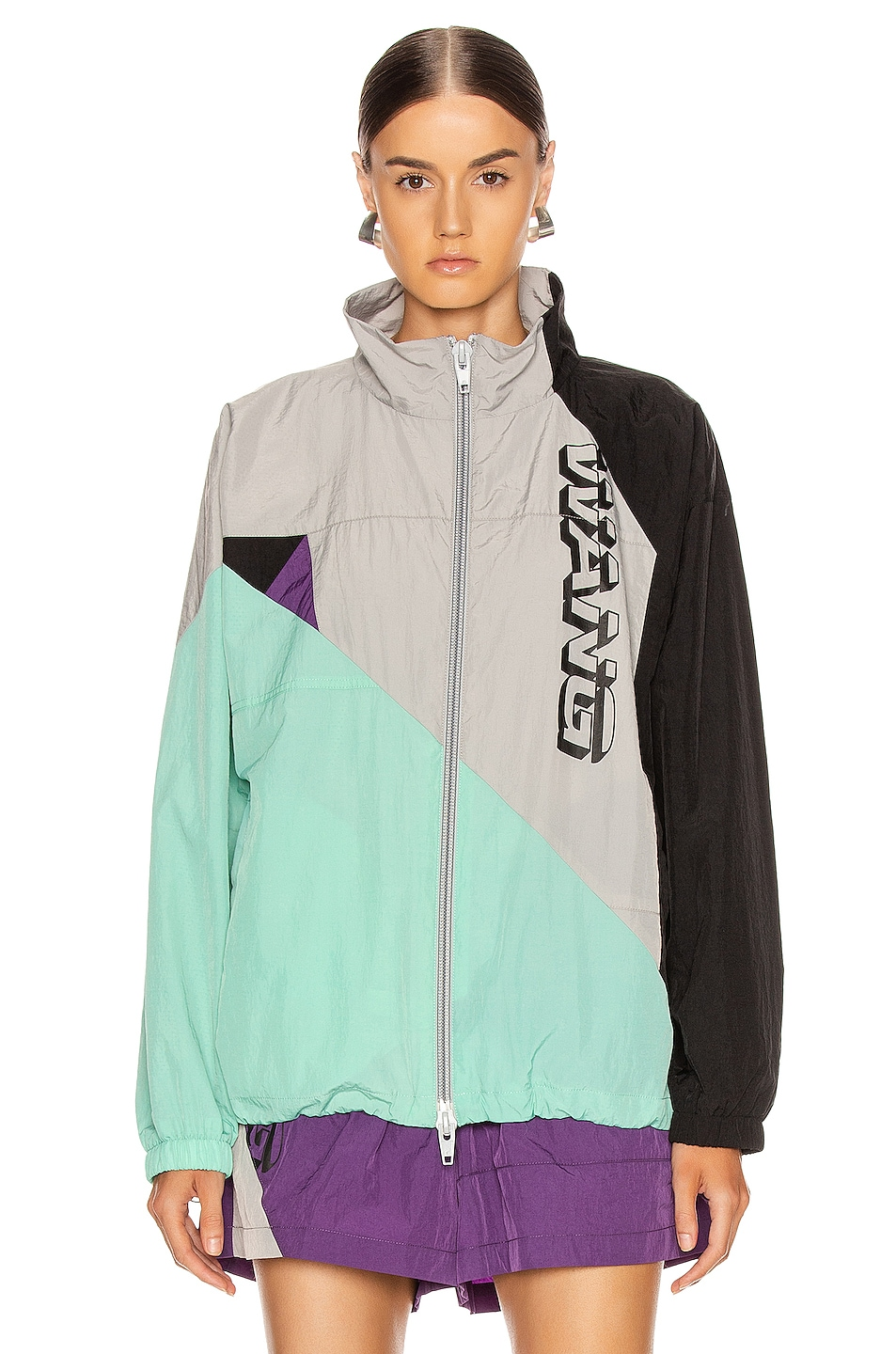 Image 1 of T by Alexander Wang Heavy Washed Nylon Jacket in Aloe Multi