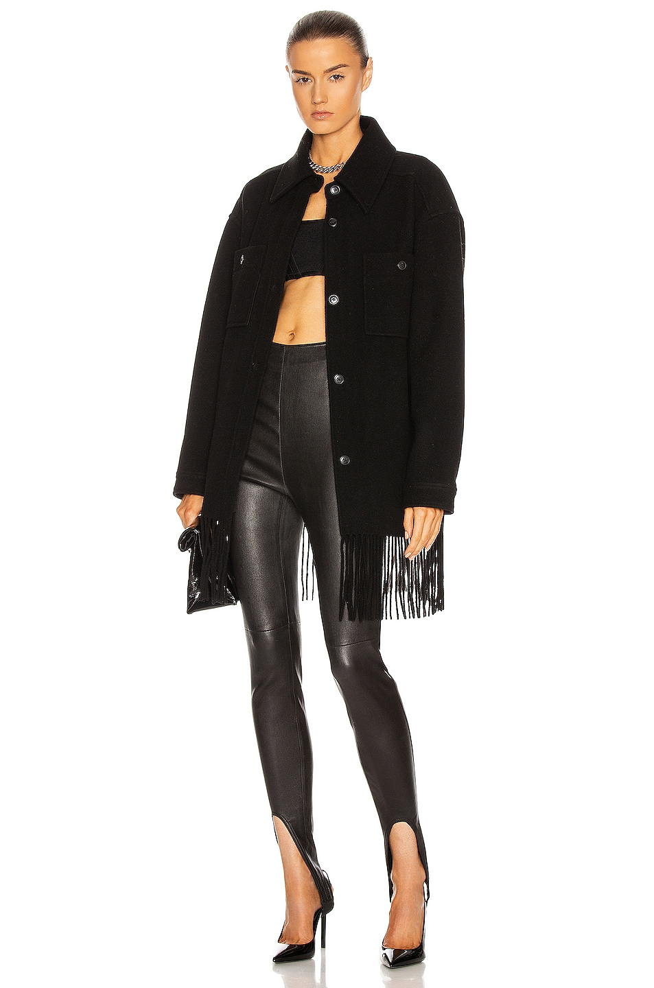 Image 1 of T by Alexander Wang Fringe Wool Peacoat in Black