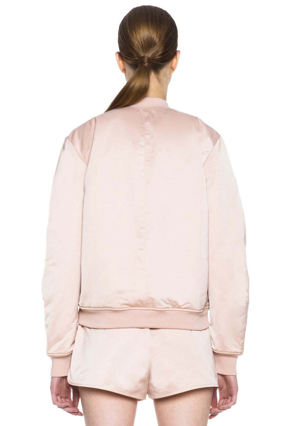 b3a118466 T by Alexander Wang Satin Bomber in Rose | FWRD