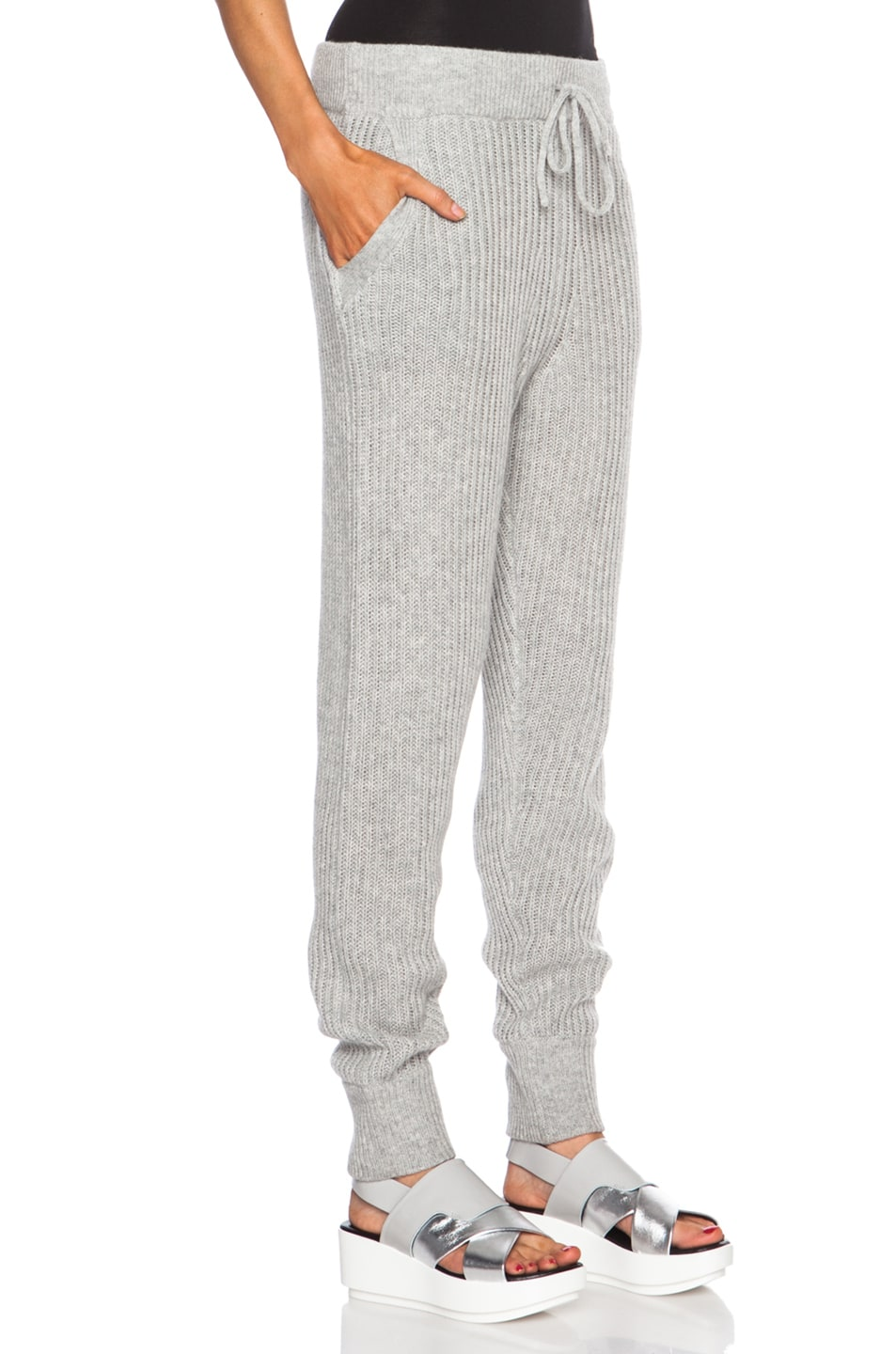 Image 3 of T by Alexander Wang Wool-Blend Sweatpants in Heather Grey
