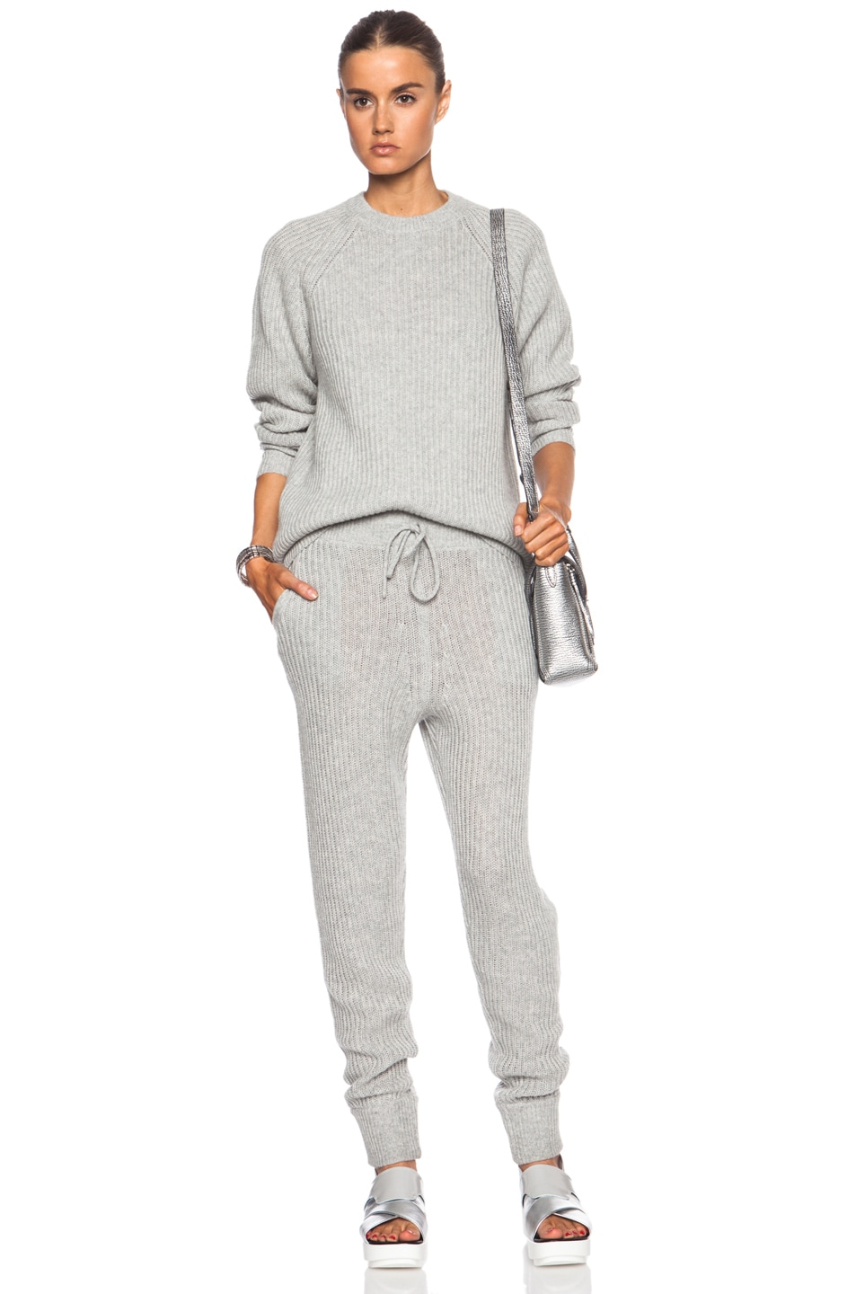 Image 5 of T by Alexander Wang Wool-Blend Sweatpants in Heather Grey