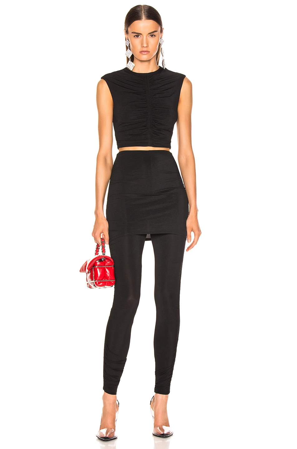 Image 4 of T by Alexander Wang Crepe Twist Legging in Black