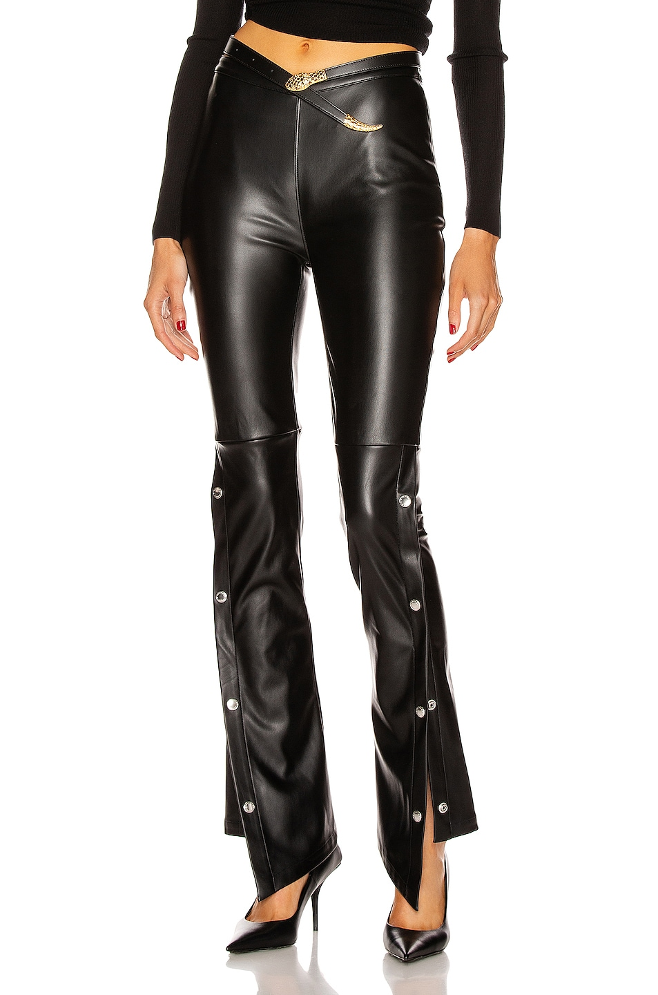 Image 1 of T by Alexander Wang Stretch Washable Faux Leather Pants in Black