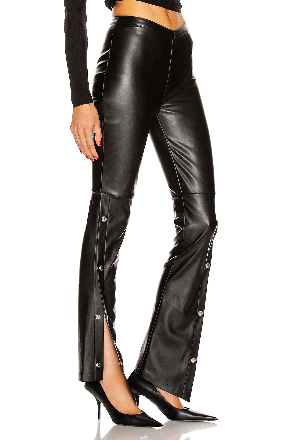 Image 3 of T by Alexander Wang Stretch Washable Faux Leather Pants in Black