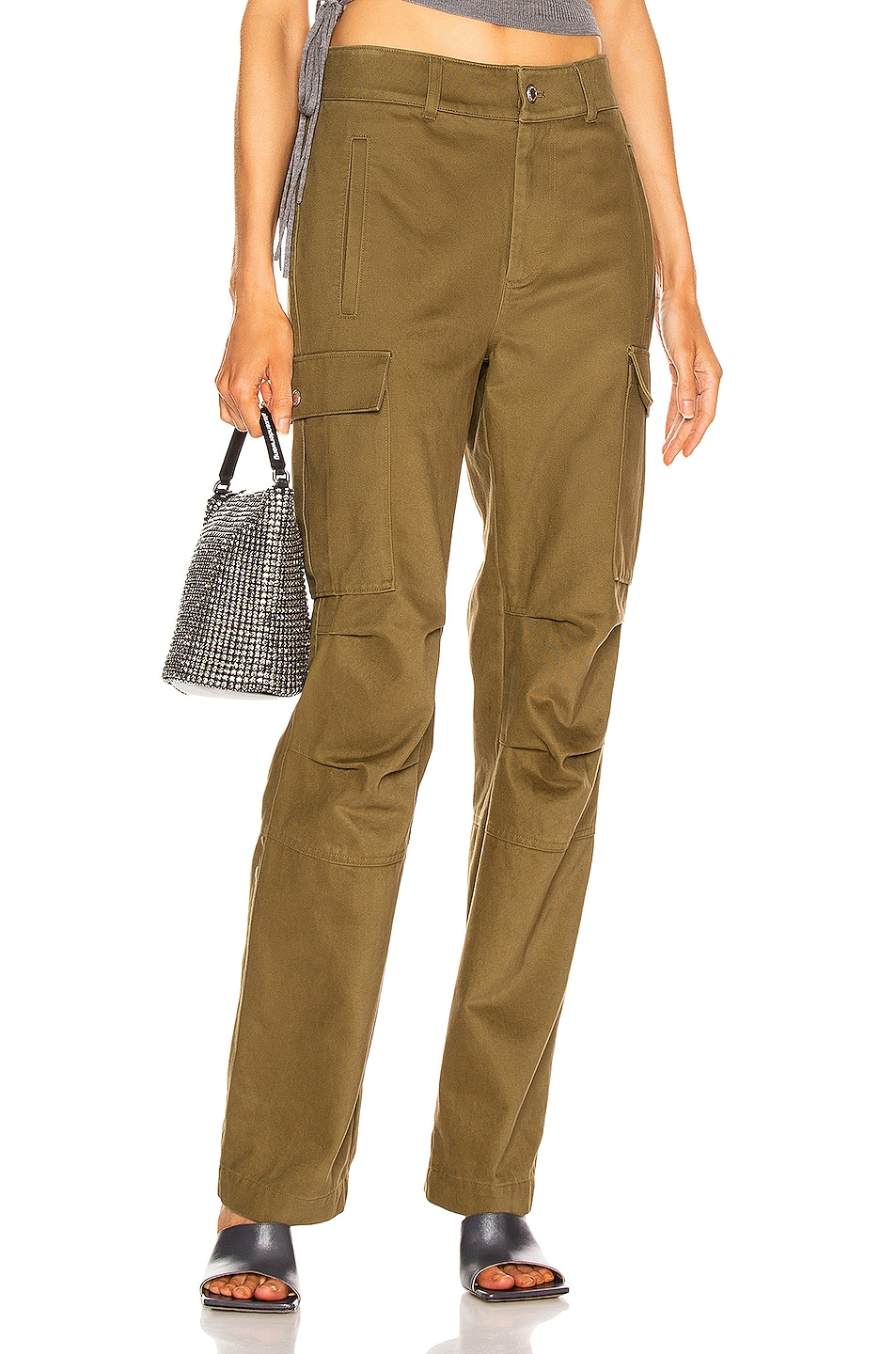 Image 1 of T by Alexander Wang Twill Cargo Pant in Olive