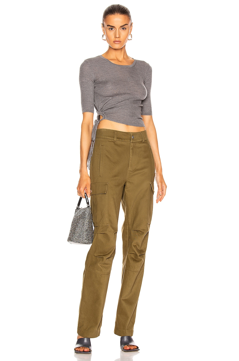 Image 4 of T by Alexander Wang Twill Cargo Pant in Olive