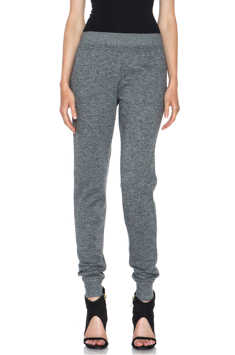Image 1 of T by Alexander Wang Top Dyed Fleece Sweat Pant in Charcoal