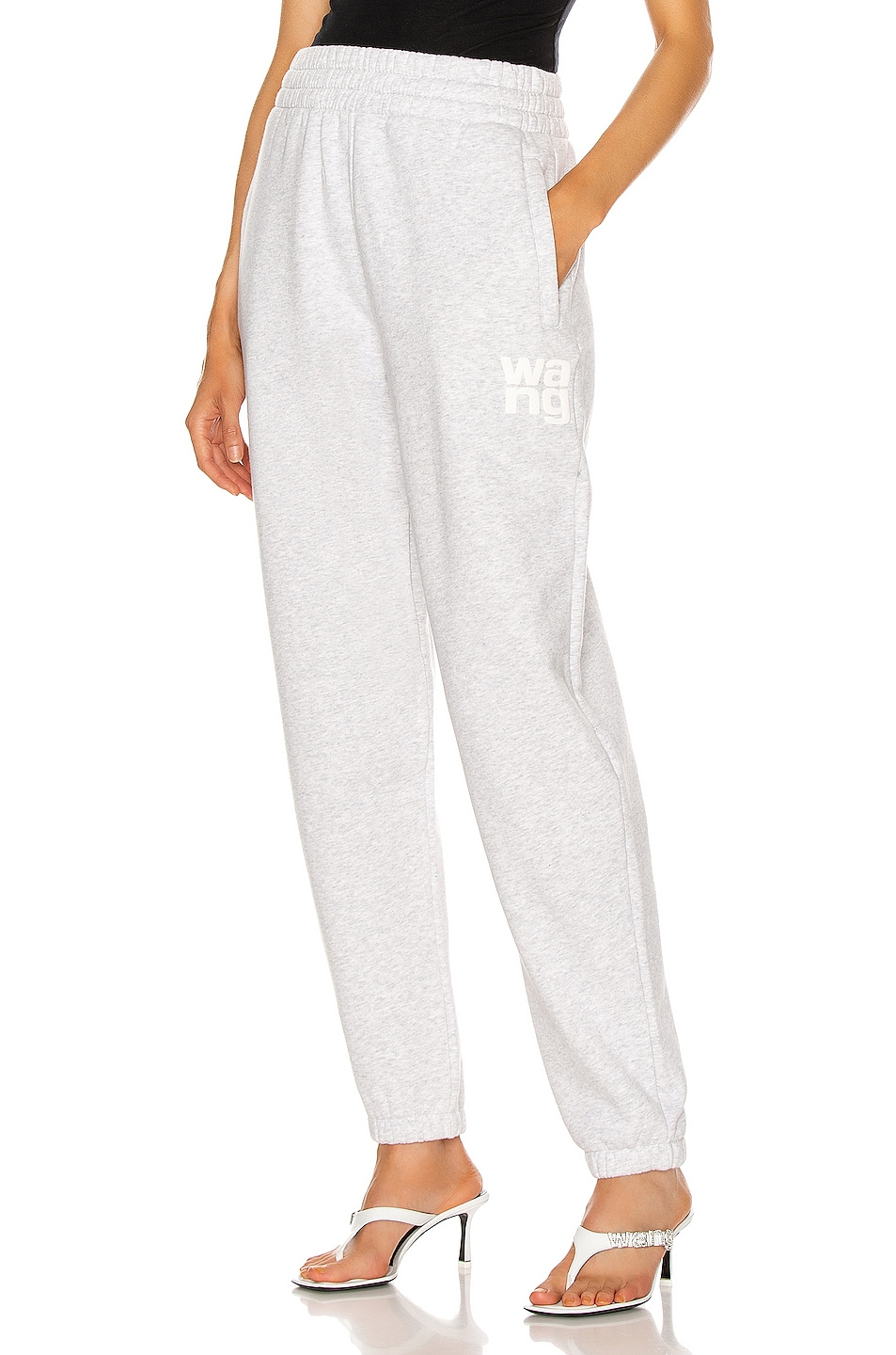 Image 1 of T by Alexander Wang Foundation Terry Classic Sweatpant in Light Heather Grey