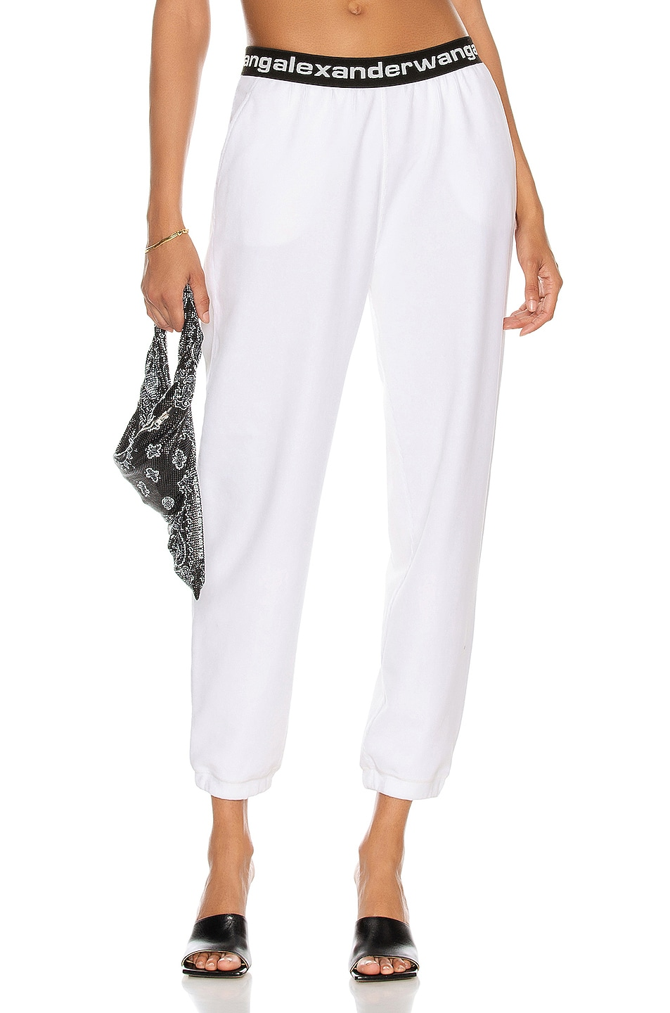Image 1 of T by Alexander Wang Logo Pant in Bright White
