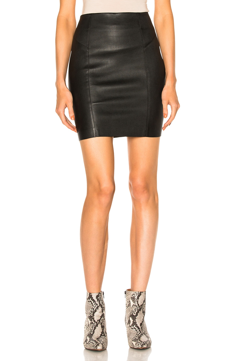 Image 1 of T by Alexander Wang Leather Mini Skirt in Black