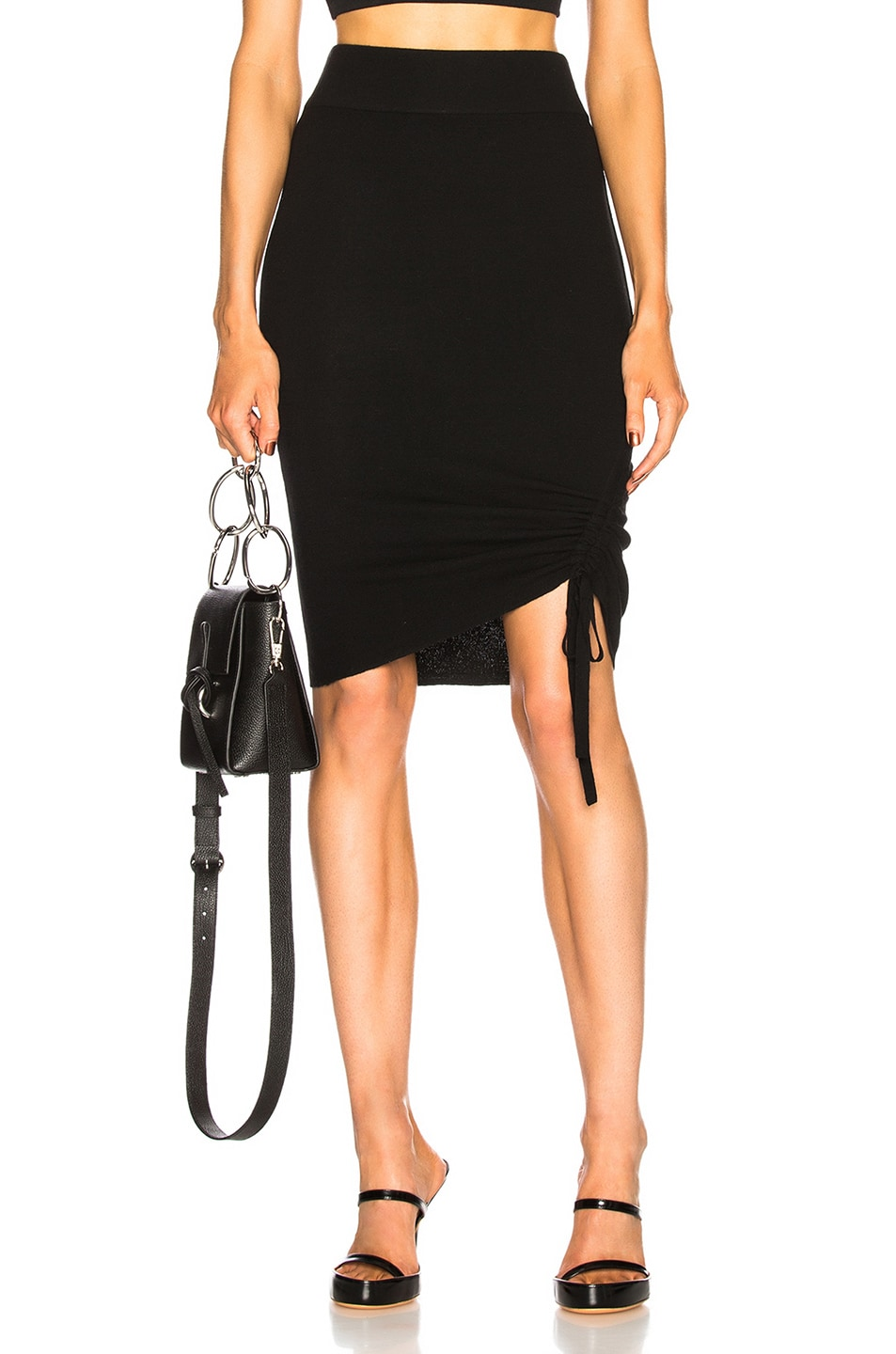 1e51426a34 Image 1 of T by Alexander Wang Rusched Skirt in Black