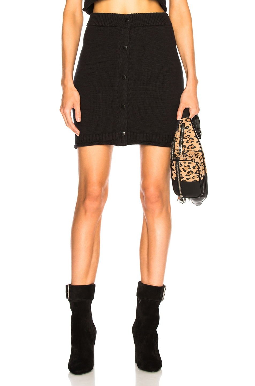 Knit Cotton Miniskirt - Black Size Xs