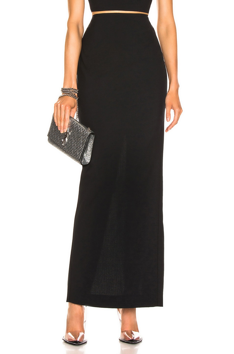 Image 1 of T by Alexander Wang Washable Wool Long Skirt in Black