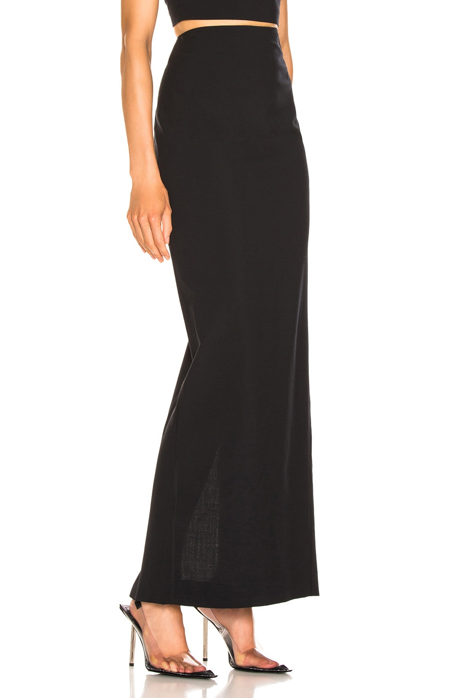 Image 2 of T by Alexander Wang Washable Wool Long Skirt in Black