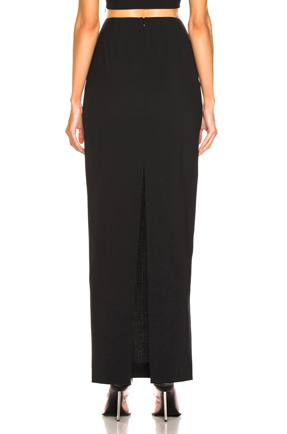 Image 3 of T by Alexander Wang Washable Wool Long Skirt in Black