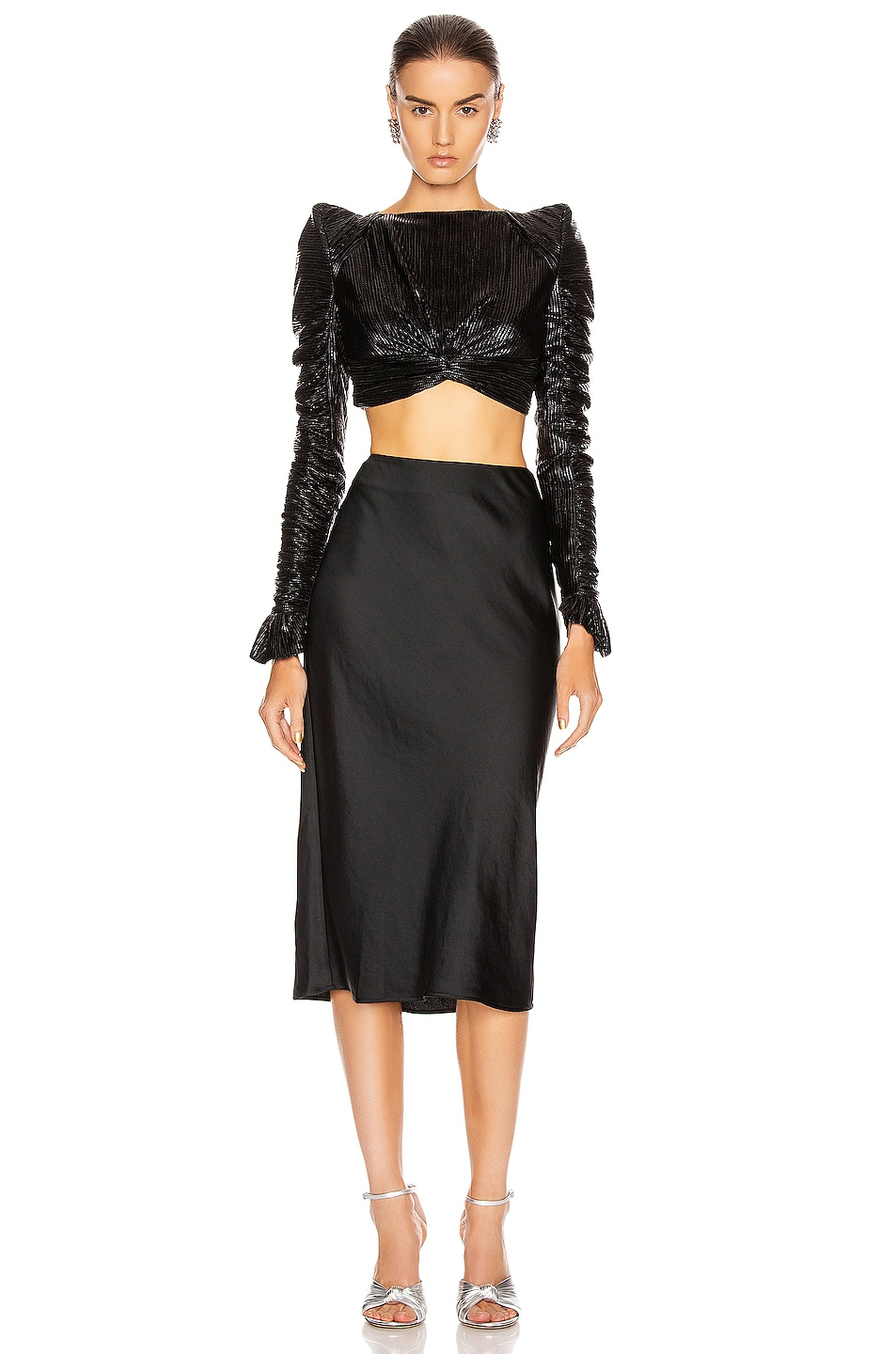 Image 4 of T by Alexander Wang Light Wash & Go Mid Skirt in Black