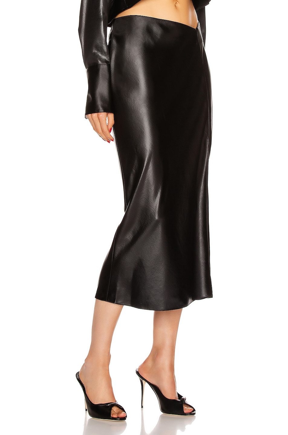 Image 2 of T by Alexander Wang Wet Shine Wash & Go Midi Skirt in Black