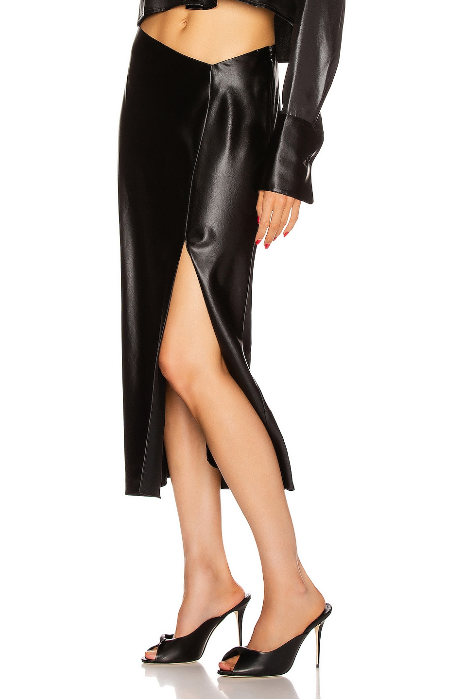 Image 3 of T by Alexander Wang Wet Shine Wash & Go Midi Skirt in Black
