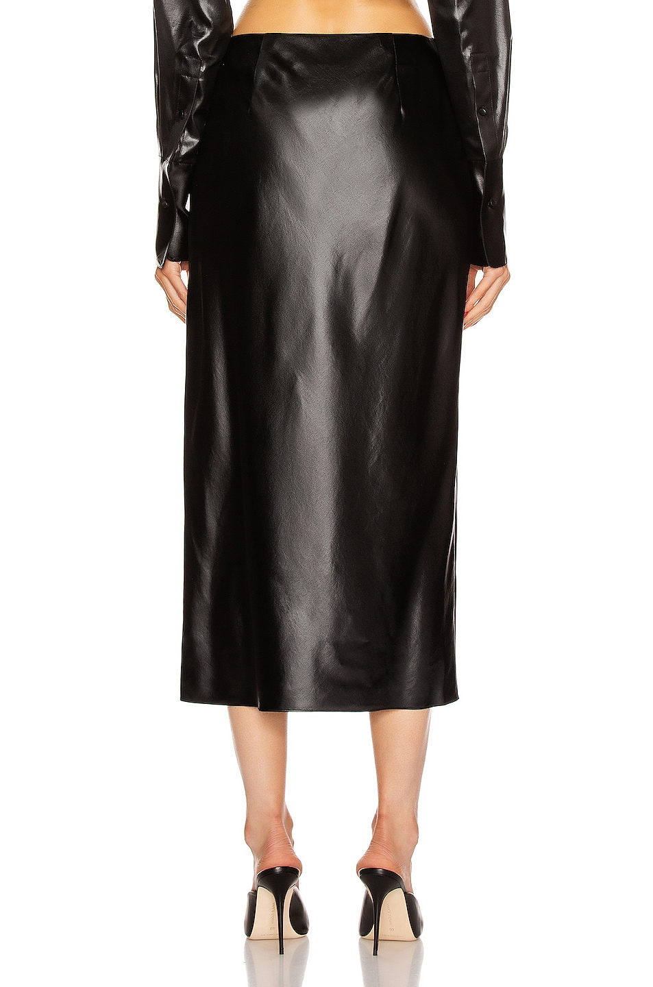 Image 4 of T by Alexander Wang Wet Shine Wash & Go Midi Skirt in Black