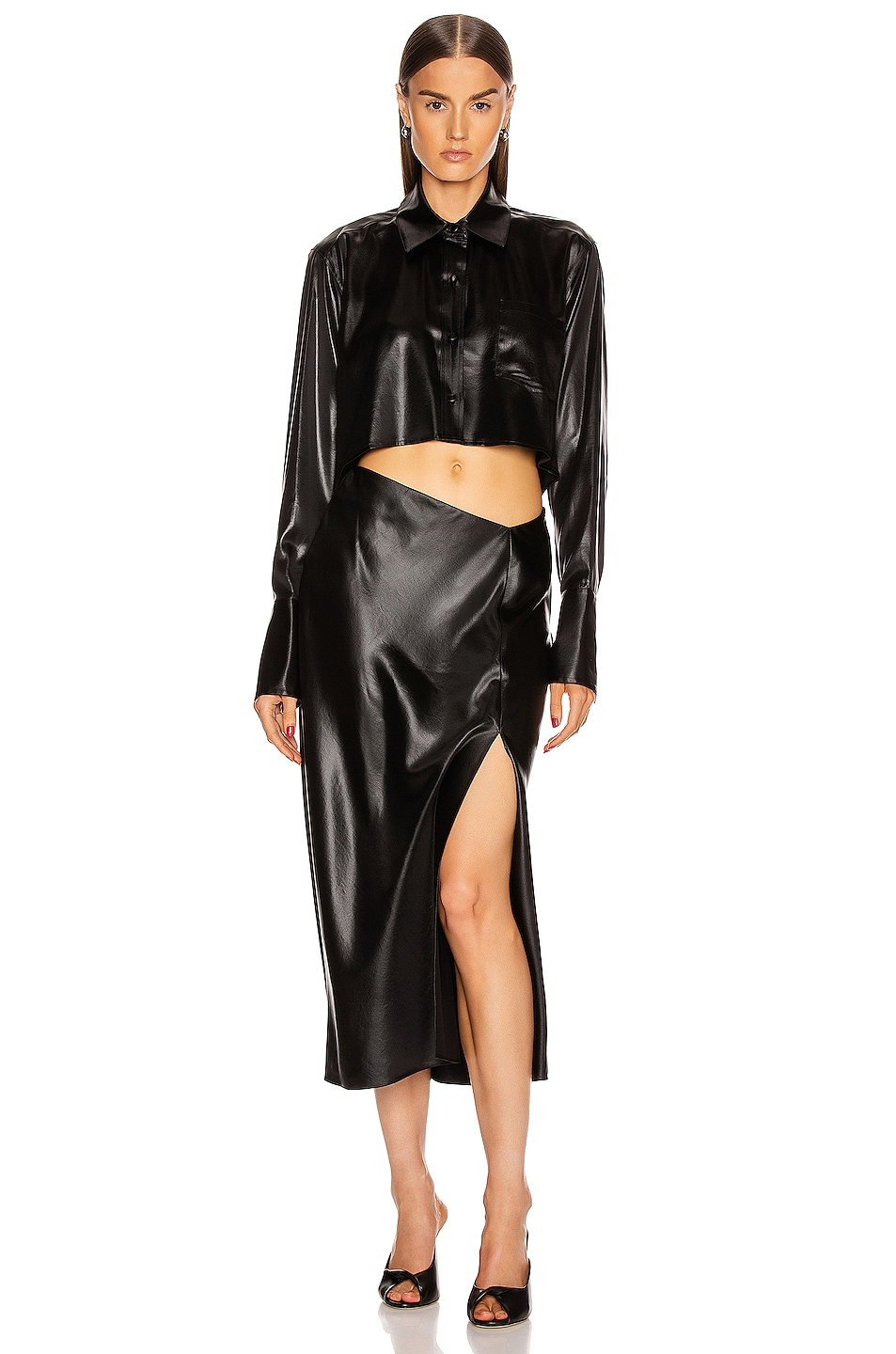 Image 5 of T by Alexander Wang Wet Shine Wash & Go Midi Skirt in Black