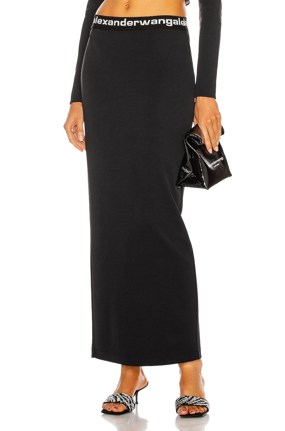 Image 1 of T by Alexander Wang Logo Elastic Fitted Long Skirt in Black