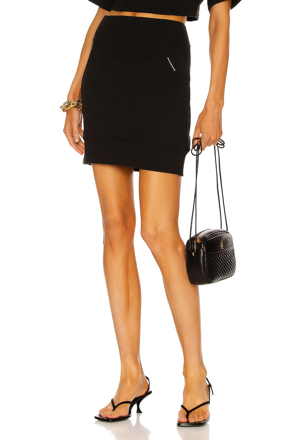 Image 1 of T by Alexander Wang Sculpted Mini Skirt in Black