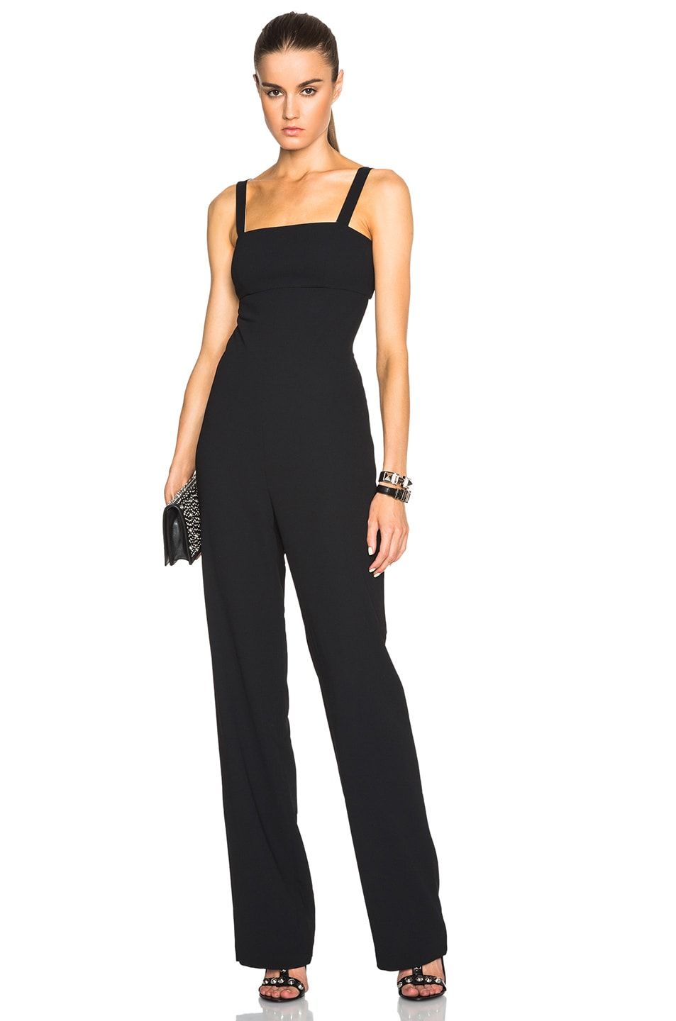 Image 1 of T by Alexander Wang Poly Crepe Cutout Bandeau Jumpsuit in Black