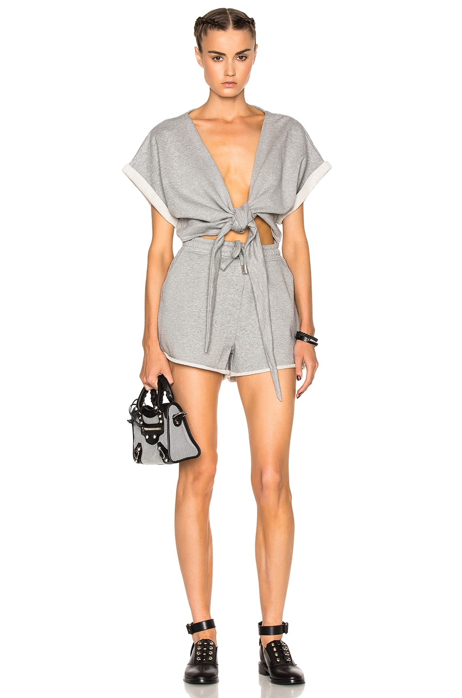 e5661d9d33ce Image 1 of T by Alexander Wang Short Sleeve Tie Romper in Heather Grey