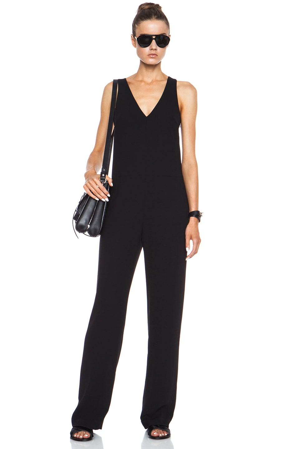 Image 1 of T by Alexander Wang V Neck Strap Poly Crepe Romper in Black