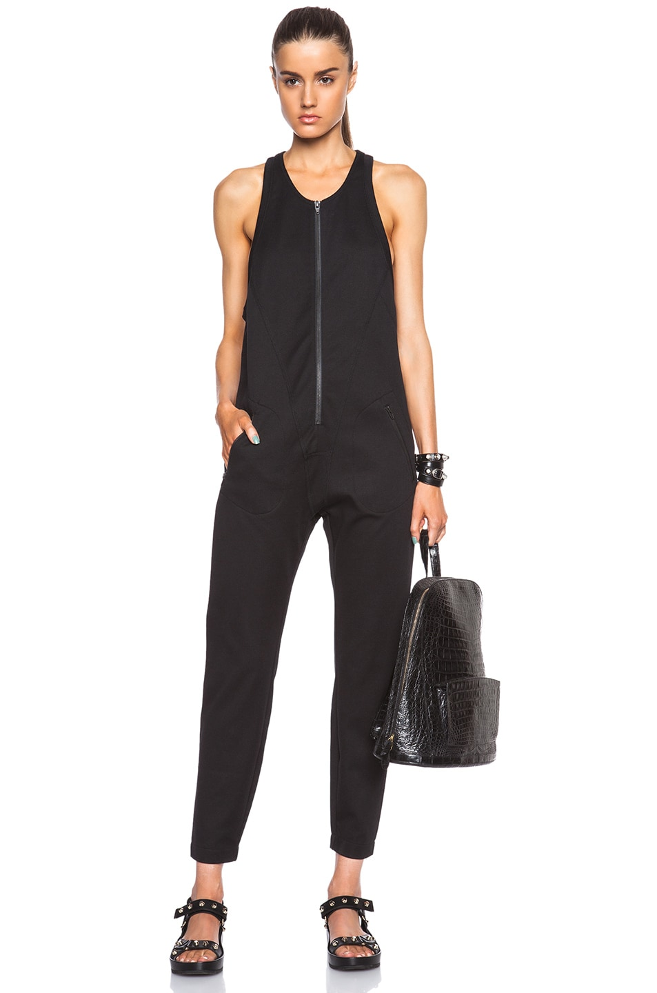 Image 1 of T by Alexander Wang Stretch Pique Sleeveless Jumpsuit in Black