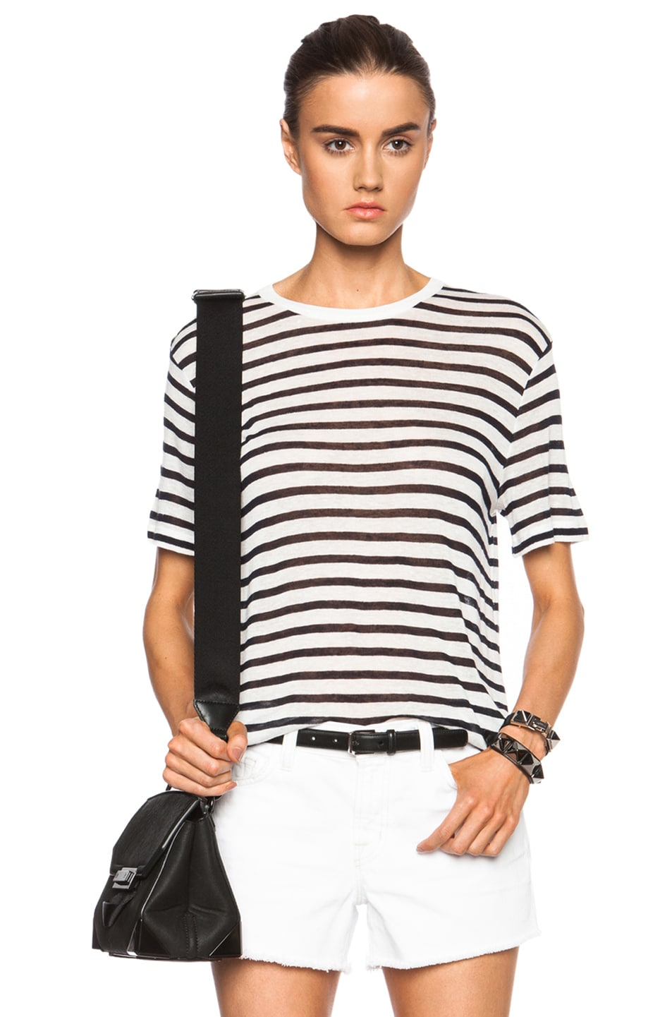 1c58dfcfc84 Image 1 of T by Alexander Wang Stripe Linen-Blend Tee in Navy   Off