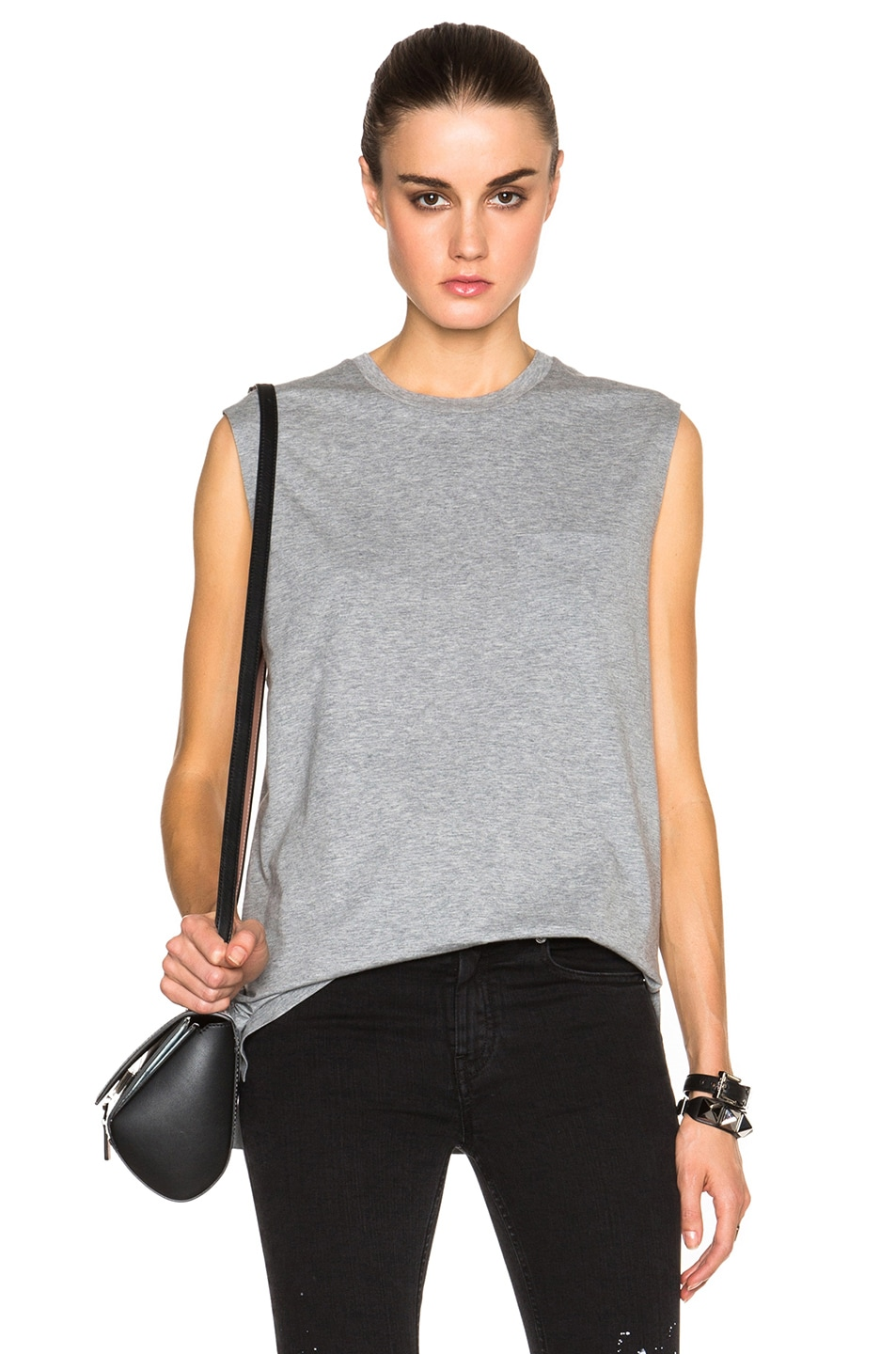bd6c626f85c82a Image 1 of T by Alexander Wang Welded Cotton Jersey Pocket Muscle Tee in  Heather Grey